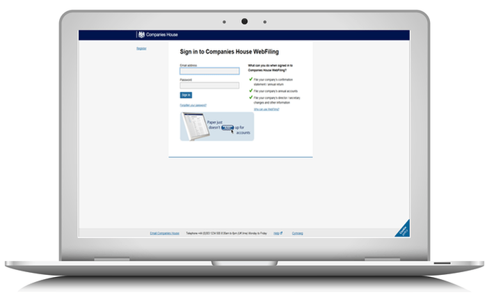 comapnies house web filing on laptop
