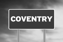 Coventry address sign black and white