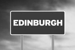 Edinburgh address sign black and white