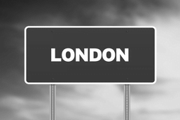 London address sign black and white