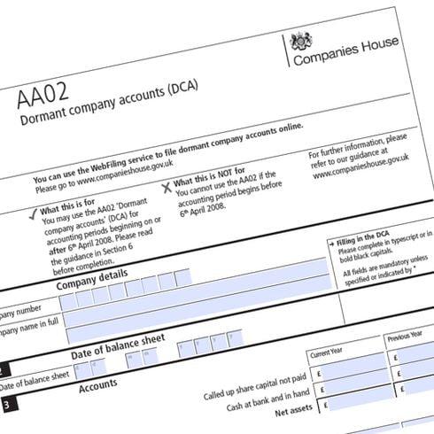 Companies House form AA02 to file dormant accounts
