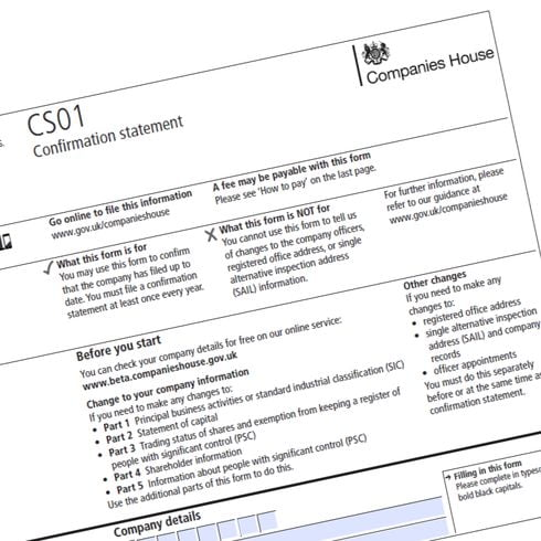 Companies House form CS01 to file confirmation statement