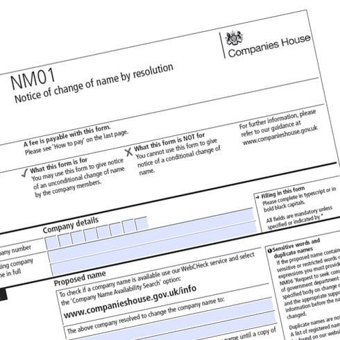 Companies House Form NM01 to change UK company name
