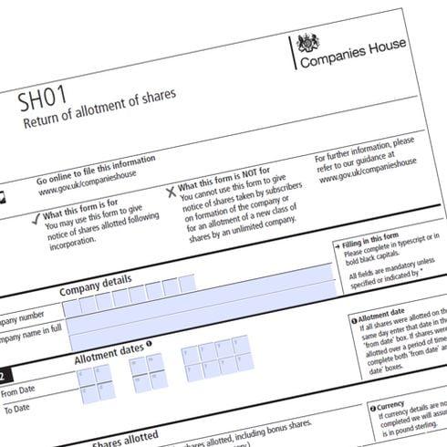 Companies House form SH01 to change share capital
