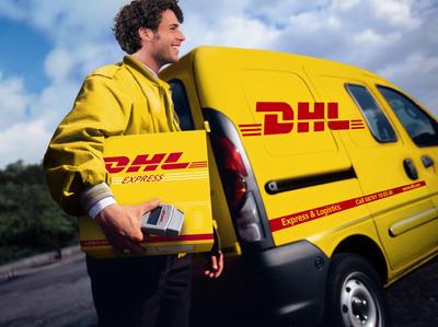 DHL delivery driver delivering goods