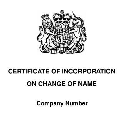 Companies House Certificate name change